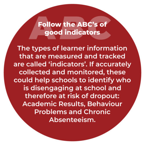 Follow the ABC's of good indicators  The types of learner information that are measured and tracked are called 'indicators'. If accurately collected and monitored, these could help schools to identify who is disengaging at school and therefore at risk of dropout:  Academic Results, Behaviour Problems and Chronic Absenteeism.