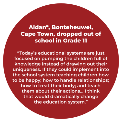 "Aidan*, Bonteheuwel, Cape Town, dropped out of school in Grade 11 ""Today's educational systems are just focused on pumping the children full of knowledge instead of drawing out their uniqueness. If they could implement into the school system teaching children how to be happy; how to handle relationships; how to treat their body; and teach them about their actions... I think that would dramatically change the education system."""